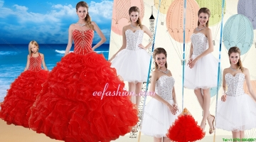 2015 Red Ruffled Quinceanera Dress and Beaded White Short Dama Dresses and Halter Top Beaded Pageant Dresses for Little