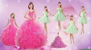 Beautiful Ruffles and Beading Quinceanera Dress and Apple Green Short Dama Dresses and Beading Little Girl Dress
