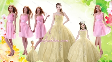 Champagne Ball Gown Quinceanera Dress and Ruching Baby Pink Dama Dresses and Floor Length 2015 Little Girl Dress