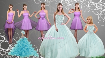 Cheap Sweetheart Beading Quinceanera Dress and Lilac Short Prom Dresses and Apple Green Spaghetti Straps Beading Pageant