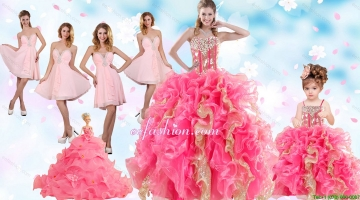 Multi Color Floor Length Ruffles Quinceanera Dress and Baby Pink Short Beading Dama Dresses and Floor Length Multi Color Little Girl Dress