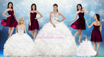 Perfect Beading White Sweetheart Quinceanera Gown and Sweetheart Short Dama Dresses and Beading and Ruffles Flower Girl Dress