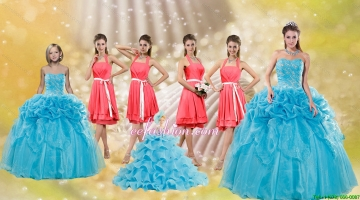 Pick Ups Floor Length Baby Blue Quinceanera Dress and Watermelon Halter Top Sash Dama Dresses and Pretty Ruffles Little Girl Dress