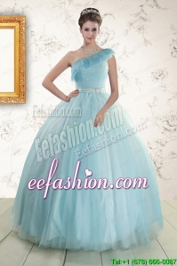 Pretty One Shoulder Light Blue Quinceanera Dress for 2015