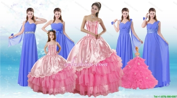 Ruffled Layers Sweetheart Quinceanera Dress and Elegant Ruching Long Dama Dresses and Rose Pink Floor Length Little Girl