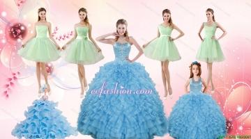 Ruffles Beading Ball Gown Quinceanera Dress and Sash Short Apple Green Dama Dresses and Halter Top Little Girl Dress