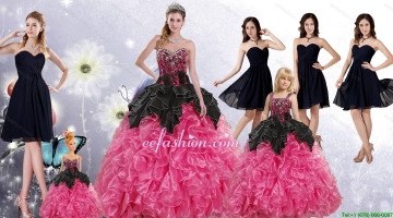 Ruffles and Beading Multi Color Quinceanera Gown and Black Sweetheart Short Prom Dress and Multi Color Straps Little Gir