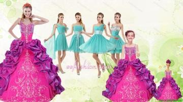 Spaghetti Straps Pick Ups 2015 Quinceanera Dress and Short Pretty Dama Dresses and Multi Color Little Girl Dress