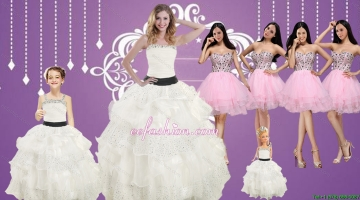 Strapless Beading White Quinceanera Dress and Baby Pink Sweetheart Short Prom Dresses and White Straps Beading Little Girl Pageant Dress