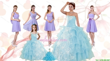 Strapless Ruffles Elegant Quinceanera Dress and Lavender Mini Length Prom Dress and Appliques and Ruffles Baby Bule Little Girl Pageant Dress
