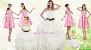 White Strapless Beading Quinceanera Dress and Baby Pink Short Beading Prom Dresses and Affordable Little Girl Pageant Dr