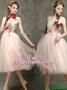 Beautiful Tea Length V Neck Bridesmaid with Belt and Bowknot