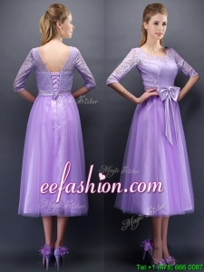 Cheap See Through Scoop Half Sleeves Bridesmaid Dress with Bowknot