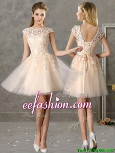Classical Bateau Cap Sleeves Lace Mother Of The Bride Dresses in Champagne