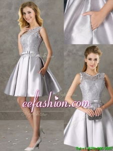 Classical Laced and Bowknot Scoop Mother Of The Bride Dresses in Silver