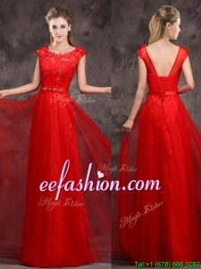 Hot Sale Scoop Red Bridesmaid Dress with Beading and Appliques