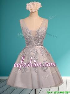 Modest Deep V Neckline Grey Mother Of The Bride Dresses with Appliques and Belt