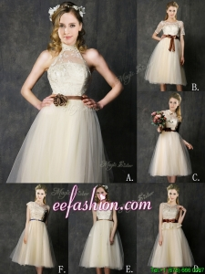 New Arrivals Knee Length Champagne Bridesmaid Dress with Lace