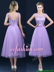 Perfect See Through Applique and Belt Bridesmaid Dress in Tulle
