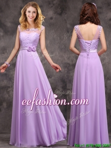 Perfect See Through Applique and Laced Bridesmaid Dress in Lavender
