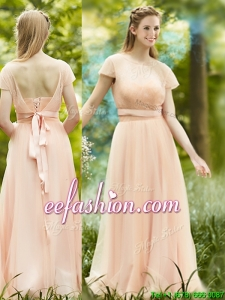 Perfect See Through Scoop Short Sleeves Bridesmaid Dress in Peach