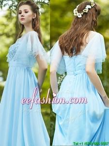 See Through Bateau Short Sleeves Bridesmaid Dress with Appliques