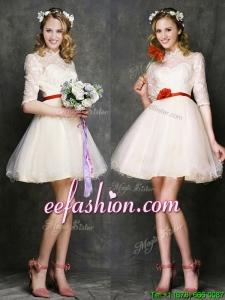 See Through High Neck Half Sleeves Short Bridesmaid Dress with Belt