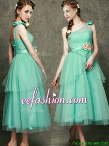 See Through One Shoulder Bridesmaid Dress with Bowknot and Hand Made Flowers