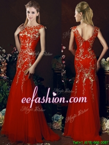 Sexy Mermaid Red Prom Dresses with Gold Sequined Appliques