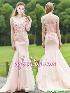 Sexy See Through Light Pink Mermaid Prom Dresses with Brush Train