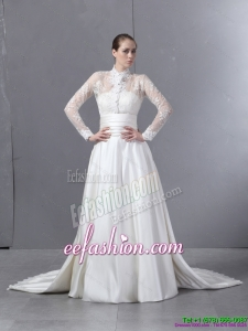 Ruched and Classic Strapless White Wedding Dresses with Brush Train