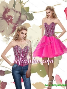 2015 Pretty A Line Hot Pink Prom Dress with Beading