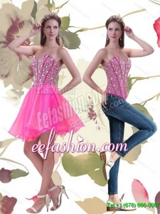 2015 Pretty A Line Mini Length Hot Pink Prom Dress with Beading