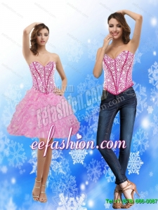 2015 Pretty Sweetheart Rose Pink Prom Dress with Beading and Ruffles