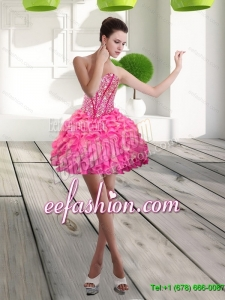 Pretty Mini Length Sweetheart Beading and Ruffles Prom Dress for 2015