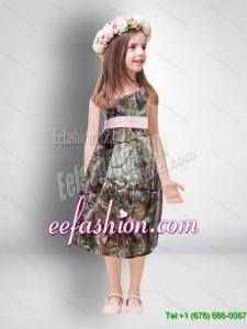 Cheap One Shoulder Tea Length Camo 2014 Flower Girl Dresses