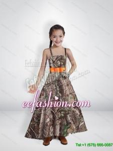 Comfortable Princess Straps Camo Flower Girl Dresses with Belt