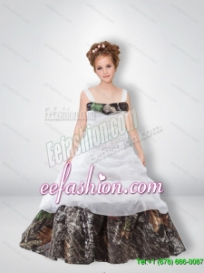 Cute A Line 2015 Camo Flower Girl Dresses with Beading
