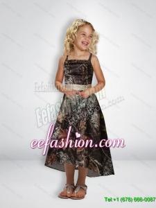 Elegant A Line Straps Tea Length Camo Flower Girl Dresses with Beading