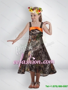 Elegant High Low Straps Camo Flower Girl Dresses with Sashes