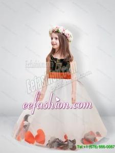 Pretty Ball Gown Scoop Belt Camo Flower Girl Dresses