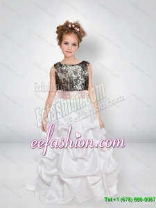 Sweet A Line Scoop Camo Flower Girl Dresses with Bowknot