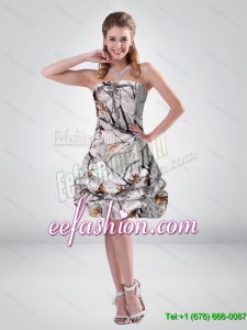 2015 Popular Strapless Mini length Camo Prom Dresses with Ruching
