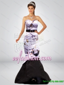 Cheap Mermaid Camo Prom Dresses with Hand Made Flower and Sashes