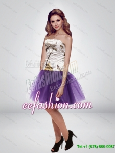 Popular Mini Length Strapless Camo Prom Dresses in Multi Color