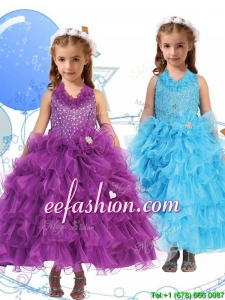 Affordable Halter Top Mini Quinceanera Dresses with Beading and Ruffled Layers