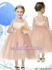 Affordable Spaghetti Straps Hand Made Flowers Mini Quinceanera Dresses in Champagne