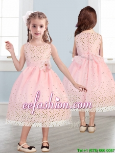 Beautiful Scoop Mini Quinceanera Dresses with Hand Made Flowers and Sequins