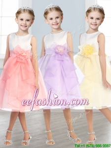 Beautiful Scoop Tulle Mini Quinceanera Dresses with Hand Made Flowers and Ruffles