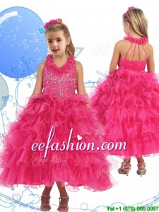 Latest Halter Top Beading and Ruffled Layers Mini Quinceanera Dresses in Hot Pink